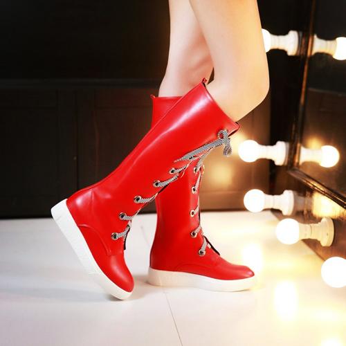 Мода весна осень Круглый Носок Узелок плоский каблук низкий красный PU колено высокие сапоги