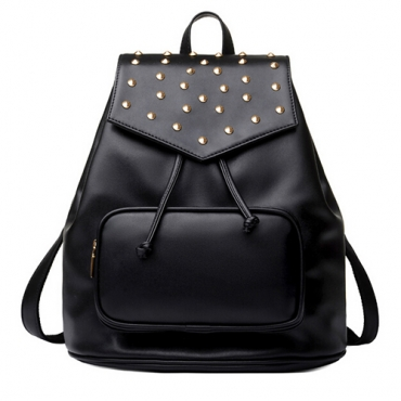Fashion Rivets Design Black PU Backpack