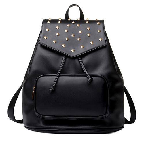 Fashion Rivets Design Black PU Backpack