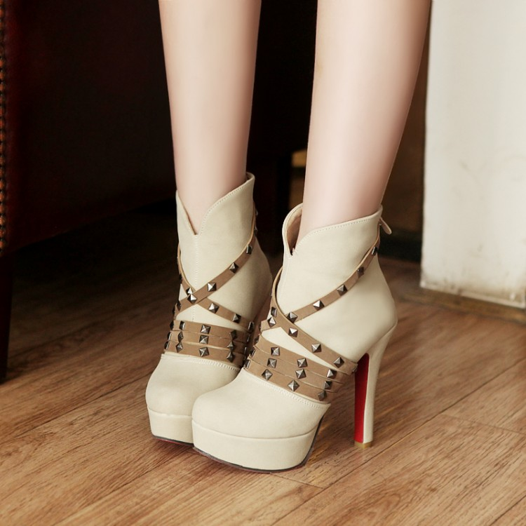 Winter Round Toe Back Zipper Rivet Decorated Stiletto Super High Heel  Beige PU Ankle Martin Boots