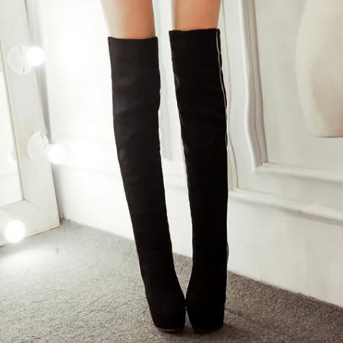 Ronda del dedo del pie de la moda de invierno sin cordones remiendo del estilete del alto talón de la PU Negro Botas sobre la rodilla Cavalier