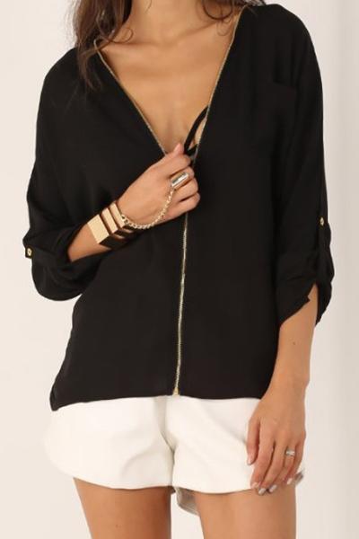 mode v ausschnitt halbe rmel schwarz chiffon pullover shirt blouses shirts top. Black Bedroom Furniture Sets. Home Design Ideas