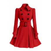 Fashion Turndown Collar Long Sleeves Double-breasted Red Cotton Blend Regular Trench Coat (with Buckle Belt)