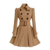 Fashion Turndown Collar Long Sleeves Double-breasted Khaki Cotton Blend Regular Trench Coat (with Buckle Belt)