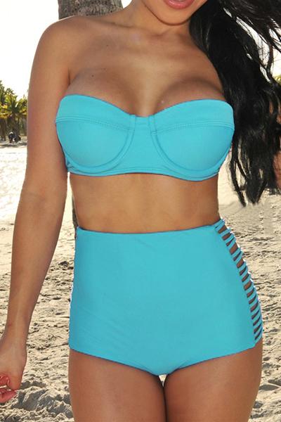 Sexy Woman Solid Blue Bikinis(Please Choose A Bigger Size)