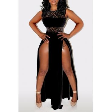 Sexy O Neck Tank Sleeveless Side Split Hollow-out Designed Black Chiffon A Line Floor Length Bodycon Dress