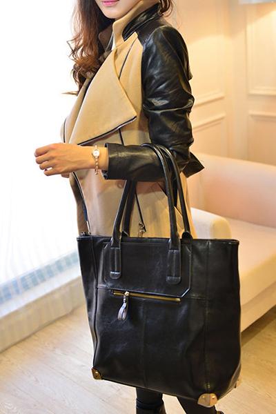 Blending Turndown Collar Long Sleeve zipper Long Wool&Blends