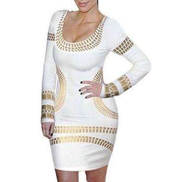 Trendy O Neck Long Sleeves Bronzing Print White Cotton Blend Sheath Mini Dress