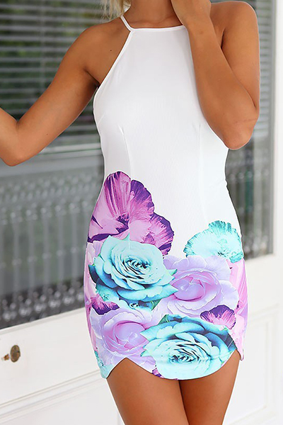 Sexy O Neck Tank Sleeveless Backless Floral Print Polyester Sheath Mini Dress