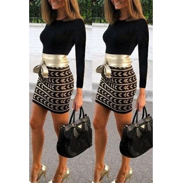 Fashion O Neck Long Sleeves Patchwork Polyester Sheath Mini Dress