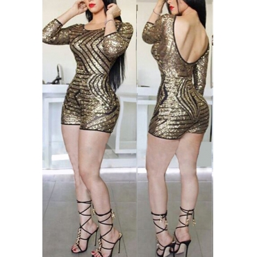 Womens Jumpsuit Sexy O Neck Long Sleeves Back Hollow-out Gold Sequined One-piece Jumpsuit