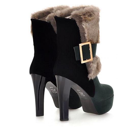 Rodada Moda Inverno Toe Slip On Buckle Chunky Super High Heel verde PU Curto Martin Botas