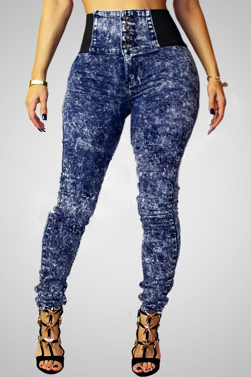 Women's Trendy High-Waisted Skinny Spliced Jeans For Women