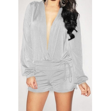 Sexy V Neck Long Sleeves Grey Polyester One-piece Jumpsuit