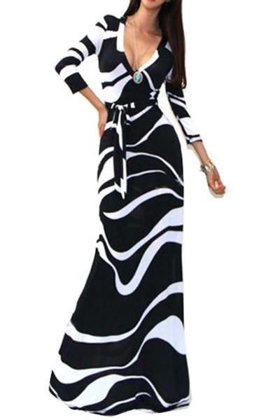 Bohemian Stylish O Neck Long Sleeves Print Black And White Cotton Blend Ankle Length Dress