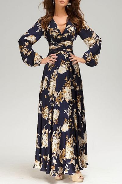 Платья длинные в пол с длинным рукавом с принтом