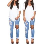 Casual V Neck Short Sleeves Asymmetrical Solid White Blending T-shirt