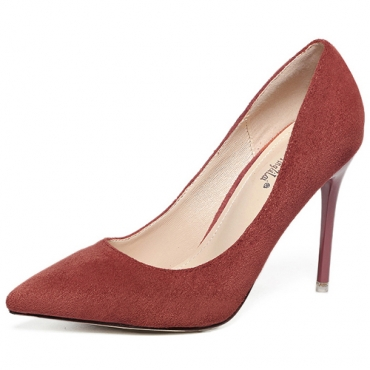 Stylish Pointed Closed Toe Shallow Mouth Design Stiletto Super High Heel Red PU Basic Pumps