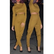 Stylish Long Sleeves Khaki Blending Two-piece Pants Set