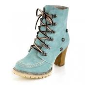 Winter Round Toe Lace Up Nieten Chunky High Heel B