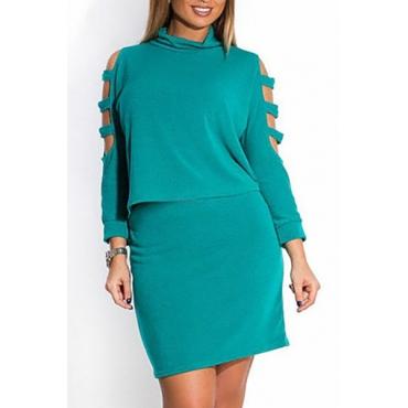 Elegante O del cuello mangas largas Hombro Hueco-hacia fuera Verde mezcla del algodón de dos piezas de la falda de