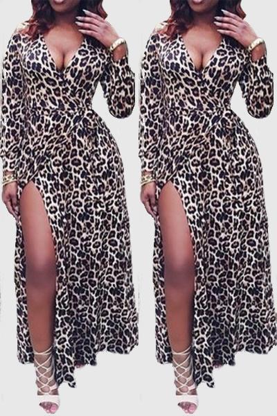 Sexy V Neck Long Sleeves Side Split Leopard Print Cotton Blend Floor length Dress