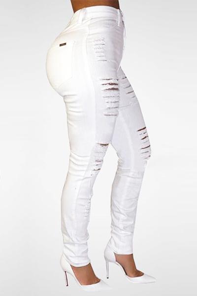 White High Waist Denim Skinny Jeans Trendy Broken Holes