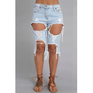 Eleganti vita alta Fori rotte Shorts Design Blu Denim