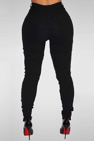 Black High Waist Denim Skinny Pants Jeans Broken Holes