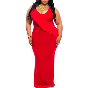 Trendy V Neck Tank Sleeveless Falbala Design Red Polyester Sheath Ankle Length Dress