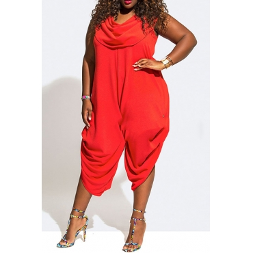 Fashion Heaps Collar Tank Sleeveless Asymmetrical Red Chiffon One-piece Loose Jumpsuits