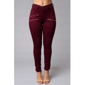 Stylish High Waist Zippered Decorative Red Cotton Blends Skinny Pants