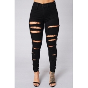 Stylish High Waist Broken Holes Black Cotton Blends Skinny Pants Jeans