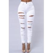 Stylish High Waist Broken Holes White Cotton Blends Skinny Pants Jeans