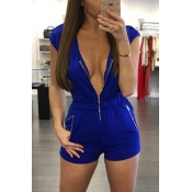 Trendy V Neck Cap Sleeves Zipper Design Blue Healthy Fabric One-piece Jumpsuits