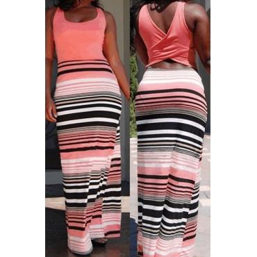 Bohemian U Neck Behälter-Sleeveless Zurück Cut-out Patchwork Striped Baumwollmischung Mantel bodenlangen Kleid