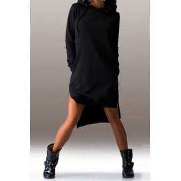 Beiläufige lange Ärmel Side Split Asymmetrische Schwarz Polyester mit Kapuze Kleid