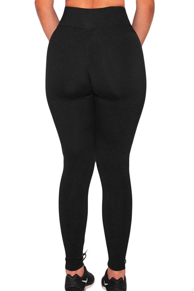 Charismatic Mid Waist Mesh Patchwork Black Polyester Leggings