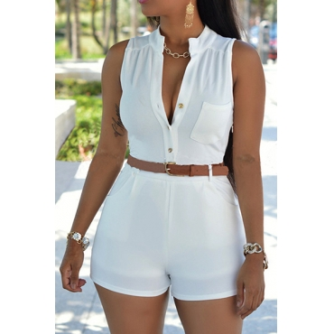 Trendy Round Neck Sleeveless Button Design White Polyester One-piece Jumpsuits (With Belt)