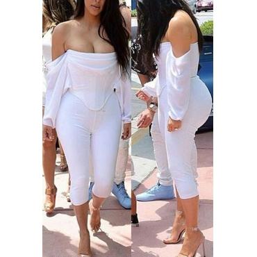 Sexy Bateau Neck Long Sleeves Asymmetrical White Polyester Two-piece Shorts Set