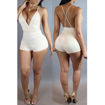 Sexy V Neck Spaghetti Strap Sleeveless Backless White Suede One-piece Skinny Jumpsuits