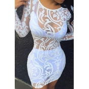 Sexy Round Neck Long Sleeves Clairvoyant White Lace Sheath Dress(Only The Dresses)