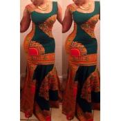 Trendy Round Neck Spaghetti Strap Sleeveless Printed Qmilch Mermaid Floor length Dress