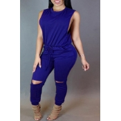 Stylish Round Neck Sleeveless Broken Holes Zipper Design Blue Polyester One-piece Jumpsuits