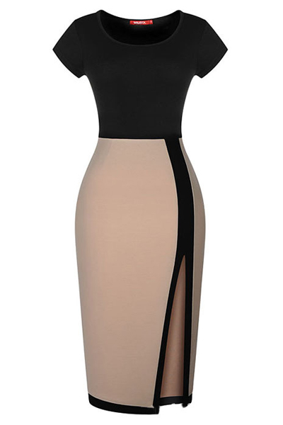 Sexy O Neck Short Sleeve Sheath Mid Calf Polyester Dress