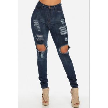 Trendy Hohe Taille Knie Gebrochene Holes Blaue Denim dünne Jeans