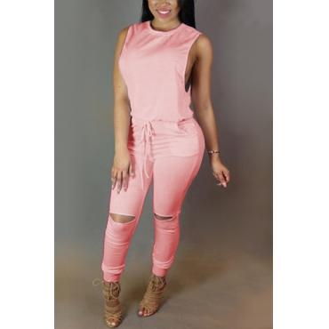 Модные круглым вырезом без рукавов Танк Zipper Дизайн Drawstring Розовый полиэстер Цельные Комбинезоны