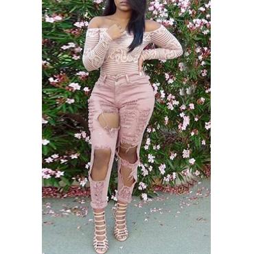 Trendy mit hoher Taille Big Gebrochene Holes Design Rosa Denim-dünne Hosen