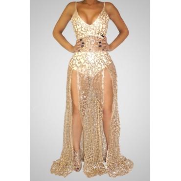 Sexy V Neck Spaghetti Strap Sleeveless See-Through High Split Khaki Lace Floor length Dress