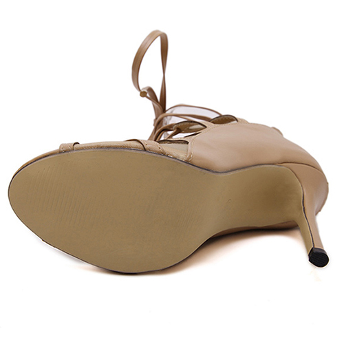 Trendy Abrir Toe Cruz Lace-up oca-out Stiletto Super High Heel Apricot PU Bombas